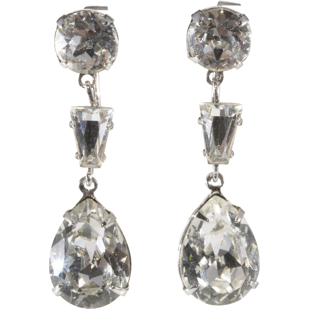 Napier 1950s Clear Rhinestone Dangle Earrings