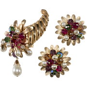 Napier Dangling Bead Cornucopia Brooch and Earrings Set