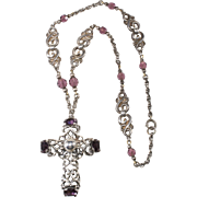 Napier Purple Rhinestone Cross Pendant Necklace 1950s Vintage