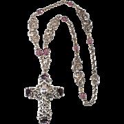 Napier Purple Rhinestone Cross Pendant Necklace 1950s Vintage