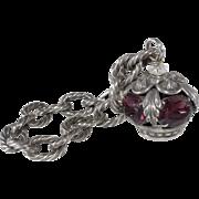 Napier Crown Charm Bracelet Silver w/ Purple Stones