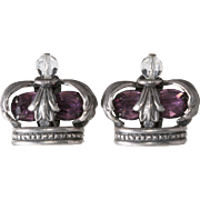 Napier Crown Purple Rhinestone Earrings Vintage 1950s