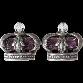 Napier Crown Purple Rhinestone Earrings Vintage 1950s