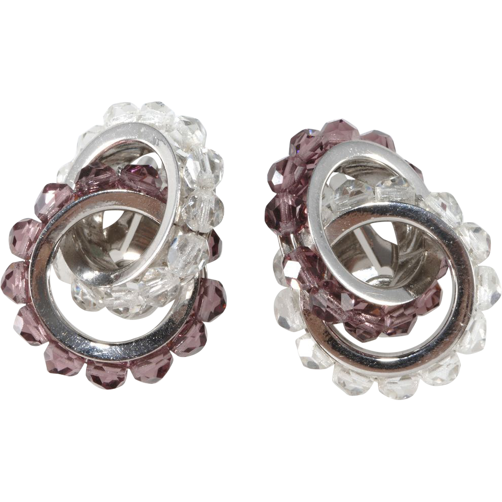 Napier Purple & Clear Interlocking Crystal Earrings