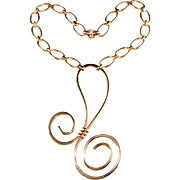 Napier is Curlier Golden Swirl LARGE Necklace Vintage 1972