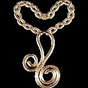 Napier is Curlier Golden Swirl LARGE Necklace Vintage 1972