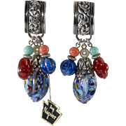 Napier 1950s Art Glass Dangle Earrings with Original Tag