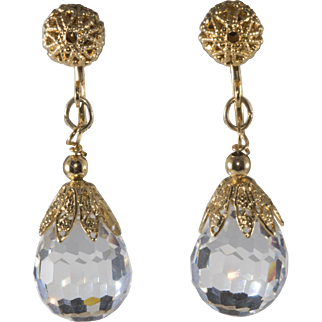 Napier Crystal Dangle Filigree Earrings Vintage 1960s