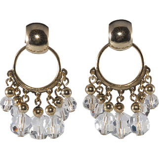 Napier Hoop Earrings with Dangling Clear Crystals 1950s