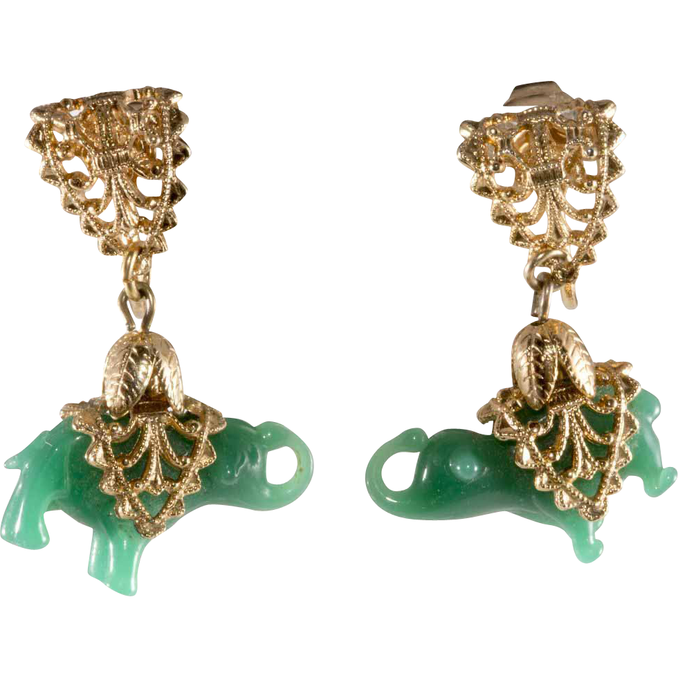 Napier Jade Green Glass Elephant Earrings