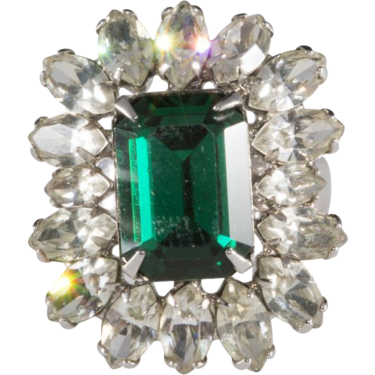Napier Emerald Green & Clear Rhinestone Ring