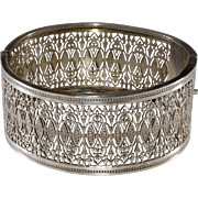 Napier 1930s Silver Plated Filigree Hinged Cuff Bracelet