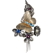 Napier Rhinestone Floral Butterfly Brooch Pin