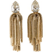 Napier Clear Rhinestone Chain Dangle Earrings Vintage