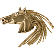 Napier Horse Head Brooch Fringe Mane Vintage