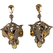 Napier Amber Rhinestone Chandelier Lantern Earrings 1950s Vintage