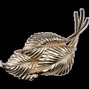 Napier Golden Leaf Spray Brooch Pin 1950s Vintage