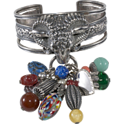 Napier 1950s Ram Cuff Bracelet with Charms