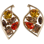 Napier Stylized Leaf Rhinestone Earrings Vintage 1950s
