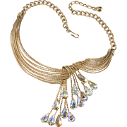 LAYAWAY - Napier 1960s Twisted Wire Necklace with Iridescent Rhinestones