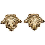 Napier 1960s Victoria Leaf Gold Plated Earrings