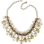 Napier 1950s Yellow Lucite Faux Pearl Dangles Necklace
