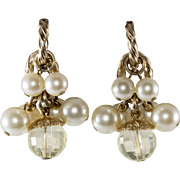 Napier 1950s Yellow Lucite Faux Pearl Dangles Earrings