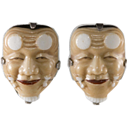 Japanese Noh Mask Porcelain Earrings Converted to Pierced