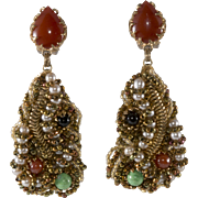 Ornella Italian 1960s Artsy Dangle Earrings
