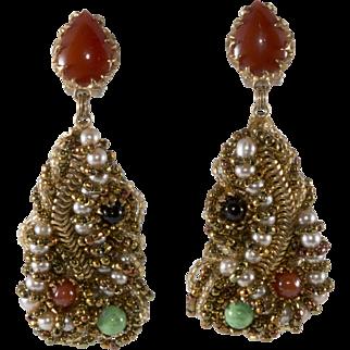 Ornella Italian 1960s Artsy Dangle Earrings