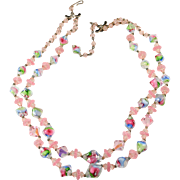 Double Strand Pastel Beads Pink Crystals Necklace Vintage