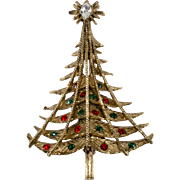 Pell Rhinestone Christmas Tree Pin Brooch 1960s Vintage