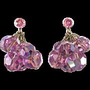 Pink Glass Bead Dangle Earrings