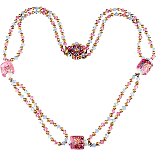 1960s Pink and Blue Art Glass Beaded Necklace