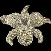 Pot Metal Trembler Clear Rhinestone Orchid Flower Pin Brooch