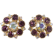 Purple and Iridescent Rhinestone Earrings 1950s Vintage