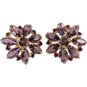 Purple and Red Rhinestone Earrings 1950s