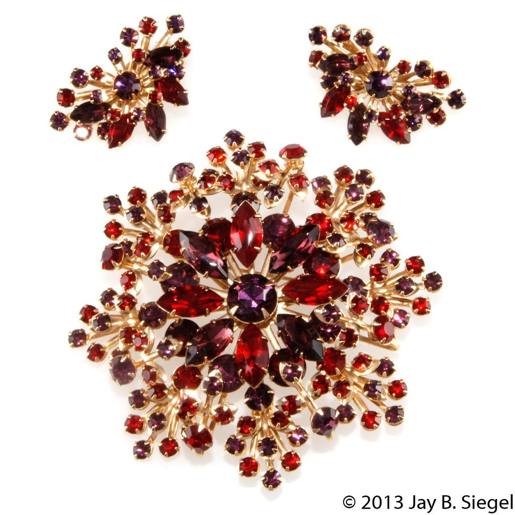 Purple & Red Rhinestone LARGE Starburst Brooch & Earrings Set