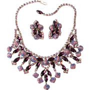 Kramer Purple Iridescent Necklace Earrings with Top Shaped Beads