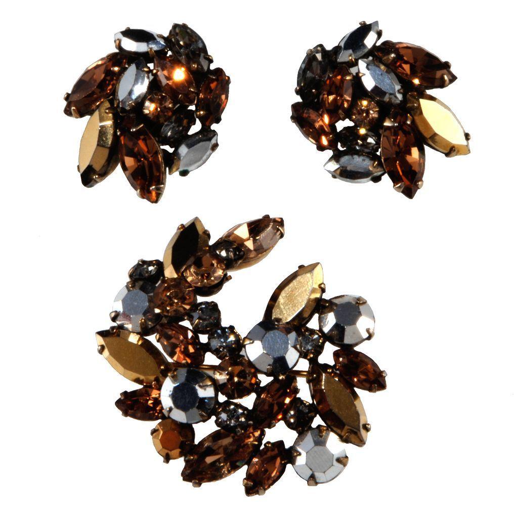 Regency Rhinestone Brooch Earrings Set Brown Silver Bronze