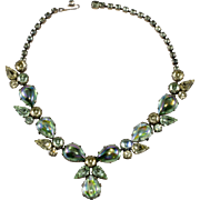 Regency Spring Green Foiled Cabochon Rhinestones Necklace Vintage 1950s