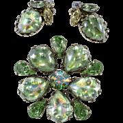 Regency Light Green Foiled Cabochon Brooch Earrings Set