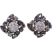 Regency Purple Foiled Cabochon Rhinestones Earrings