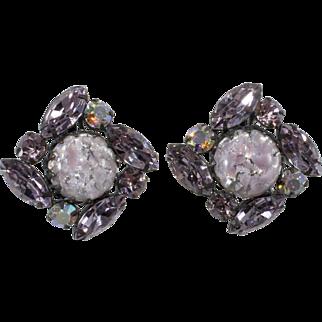 Regency Purple Foiled Cabochon Rhinestones Earrings