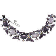Regency Lavender Purple Foiled Cabochon Rhinestone Bracelet