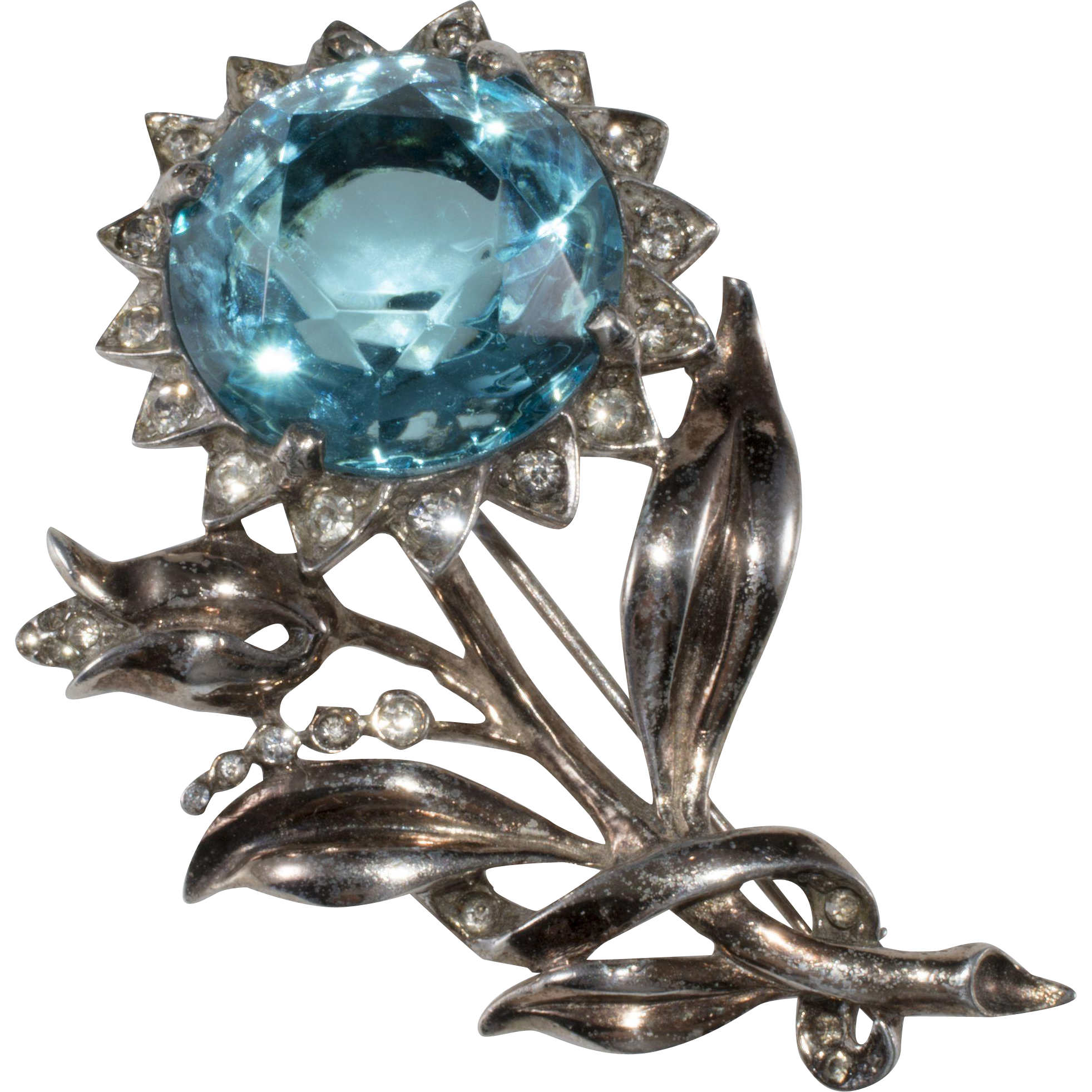 Reja Sterling Silver Blue Rhinestone Flower Brooch Pin 1940s