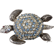Reja Sterling Silver Blue Clear Rhinestones Turtle Brooch Pin Vintage