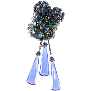 Original by Robert Blue Green Rhinestone Glass Dangle Brooch Pin Pendant