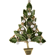 Original by Robert Enameled Christmas Tree Pin Brooch with Dangling Pearls