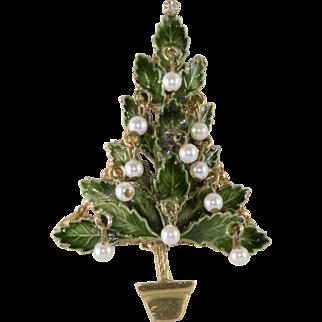 Original by Robert Enameled Christmas Tree Pin Brooch with Dangling Pearls
